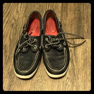 Black Sperry's boat shoes